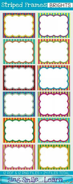 World of tpt cliparts Borders For Paper, Borders And Frames, Name Labels, Name Tags, Classroom Labels, Classroom Decor, Printable Labels, Printables, School Labels