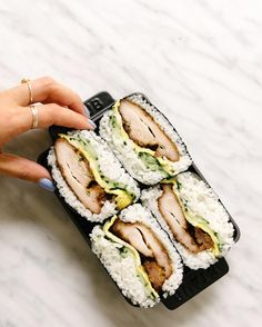 Today calls for loads of mochiko chicken onigirazu (w/ quick pickles egg)!! It's like an onigiri/musubi & a sandwich in one. Inspired by @iamafoodblog & @musukawas (w/ a huge shout out to @mollyyeh & @kaleandcaramel). Recipe on the blog #fixfeastflair! by alanakysar