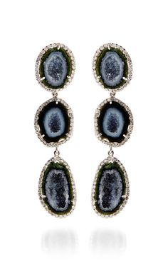 One Of A Kind Triple Geode And Diamond Detachable Earrings by Kimberly McDonald for Preorder on Moda Operandi