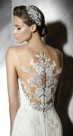 Lace detail on back of gown