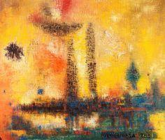 Fahrelnissa Zeid (Turquie, 1901-1991) – London Turkish Art, Art Database, African Art, Bunt, Abstract Art, Landscape, Princess, Artwork, Image