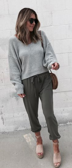 #fall #outfits women's gray scoop-neck sweater, gray drawstring pants, and pair of beige open-toe wedge sandals outfit