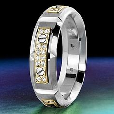 Carlex 2nd Generation men's ring.  WB-9587YW-S  White and yellow gold with diamonds.  www.gembycarati.com