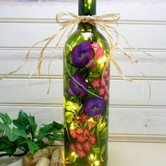 Lighted Wine Bottle Sunflowers Green Hand from PaintingByElaine