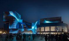 This 2017 SEGD Global Design Awards Merit Award winning project, Boris Yeltsin Presidential Center Media Façade, brings the Center's buildings to vibrant life in Ekaterinburg, Russia. Facade Lighting, Lighting Design, Digital Signage, Global Design, Facade Architecture, Built Environment, Glass Design, Design Awards, Art Gallery