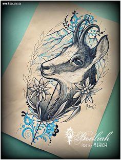Kamzík ... 2016     #art #tat #tattoo #tattoos #tetovanie #original #tattooart #slovakia #zilina #bodliak #bodliaktattoo #bodliak_tattoo #chamois_tattoo #slovak_tattoo #animal_tattoo #nature_tattoo