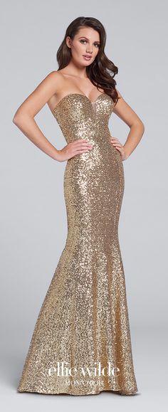 Prom Dresses 2017 - Ellie Wilde for Mon Cheri - gold sequin prom dress - Style No. EW117033