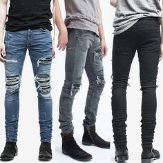 Men's Ripped Skinny Biker Jeans Destroyed Frayed Slim Fit Denim Pants US #Unbranded #ripped