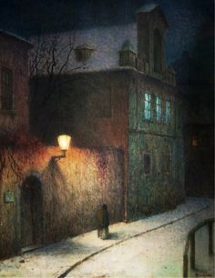 Jakub Schikaneder - Street with cab in the winter dusk, 1908