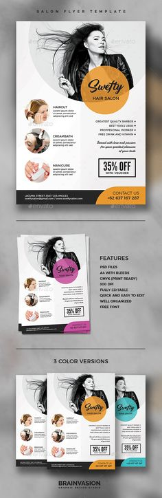 Hair Salon Flyer Salons, Fonts and Psd templates - hair salon flyer template
