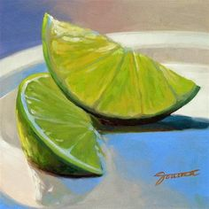 "Daily Paintworks - ""Two Lime Slices"" - Original Fine Art for Sale - © Joanna Bingham"