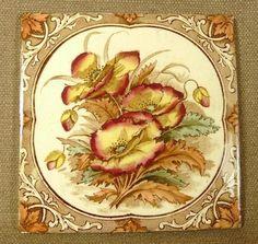 Victorian Hand Tinted Poppies Antique Ceramic Tile