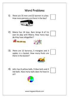 Addition and Subtraction Word Problems Worksheets For Kindergarten and Grade 1 - Story Sums - Story Problems - MegaWorkbook Mental Maths Worksheets, Math Addition Worksheets, First Grade Math Worksheets, Reading Comprehension Worksheets, 1st Grade Math, Addition Words, Math Problem Solving, Math Vocabulary, Math Words