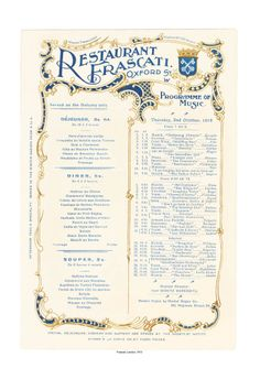 Frascati, London 1913 Vintage Menu, Vintage London, Vintage Paper, Resturant Menu, Restaurant Menu Design, Menu Printing, Banquet Facilities, Vintage Cooking, Best Commercials