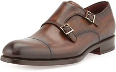 $285, Brown Leather Double Monks: Magnanni For Neiman Marcus Leather Double Monk Shoe Brown. Sold by Neiman Marcus. Click for more info: https://lookastic.com/men/shop_items/133324/redirect