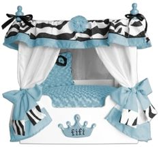 """Blue """"Fifi"""" Zebra Canopy Pet Bed. Luxurious! Available at http://doggyinwonderland.com/item_1707/Blue-Fifi-Zebra-Canopy-Pet-Bed.htm"""