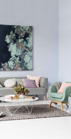 pastel living room interior design