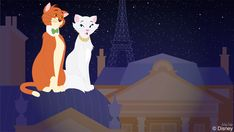 """In today's Doodle, artist Ashley Taylor imagines what Thomas O'Malley and Duchess from the 1970 film """"Aristocats"""" would do if they had the chance to prowl around Epcot."""