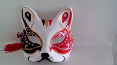 Japanese style fox mask  hand painted party  mask  black Butterfly
