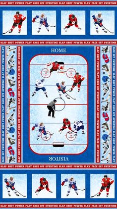 """Power Play~Hockey Panel 24"""" x 44"""" Cotton Fabric by Northcott~Fast Shipping S167"""
