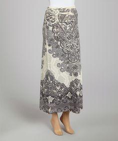 White & Black Brocade Maxi Skirt #zulily #zulilyfinds