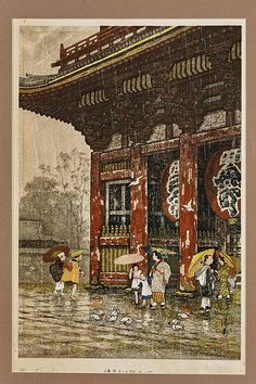 Framed Japanese Print Figures In The Rain Ink And Color On Paper Depicting Taking Shelter From Birds Bathing