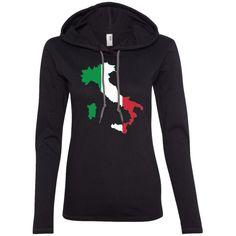 italy flag-01 887L Anvil Ladies' LS T-Shirt Hoodie
