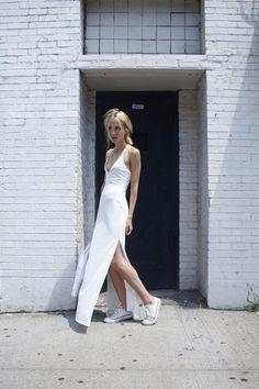 White Maxi + White Sneakers | Sporty Chic Style