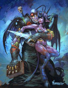 Warlock and minion. World of warcraft Fantasy Races, Fantasy Warrior, Fantasy Girl, Dark Fantasy, Art Warcraft, World Of Warcraft Gold, War Craft, Illustration, Wow Art