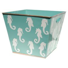 Hand-painted basket with seahorse motif and contrasting trim. Crafted of recycled metal.Product: BinConstruction Material: Recycled metal and paintColor: AquaFeatures: Hand-paintedLead-free paint Dimensions: 10 H x 12 W x 12 D Bathroom Design Inspiration, Design Ideas, Mermaid Nursery, Dream Beach Houses, Aqua Glass, Sea Theme, Basket Decoration, Beige Walls, Coastal Decor