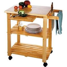 Kitchen Storage Cart with Solid Wood Cutting Board Knife Block Makes the Perfect Microwave Shelf Unit >>> Visit the image link more details.