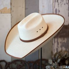 """$55.00   """"Austin"""" light straw hat with brown ribbon detailing.  -5"""" trimmed brim.  -Brown hat band  *When ordering please write your hat size in the notes, or call the shop at 214-821-1777  **This hat is a custom order please allow an extra week for processing."""