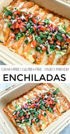 Recipes Snacks Clean Eating Grain Free Enchiladas (Gluten-Free, Low-Carb, Paleo Option) - a healthy spin on the Mexican classic with lean ground beef, almond flour tortillas and organic cheese Ancestral Nutrition Healthy Recipes, Mexican Food Recipes, Diet Recipes, Primal Recipes, Healthy Options, Gluten Free Recipes Beef, Healthy Mexican Food, Gluten Free Lunch Ideas, Gluten Free Dinners