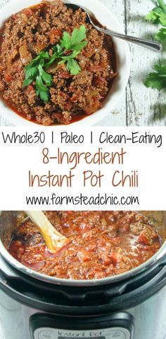 This Instant Pot Chili is Paleo + Whole30 compliant and only requires 8 ingredients (+S&P). The perfect raid-your-pantry healthy, tasty, weeknight meal.