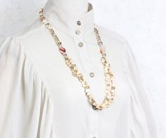 Subdued natural shell natural stone necklace necklaces shell agate long stone shell accessories long necklace elegance elegant sparkling ladies women agate go invited to shine reunion get-together party champagne
