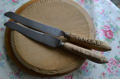 Vintage Bread Boards and Knives, Bread Board, Knives, Boards, Carving, Tableware, Vintage, Knifes, Planks, Joinery