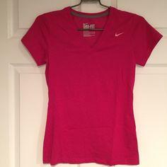 Nike dry-fit v-neck shirt Perfect for anything involving a lot of physical activity! So comfortable! Worn once! Perfect for summer! Fitted v-neck shirt. Soooo soft! Nike Tops Tees - Short Sleeve