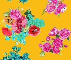 summer yellow flowers  fabric by katarina on Spoonflower - custom fabric