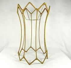 Lamp shade wire frame for table floor lamp fancy scalloped bell lamp shade wire frame vintage floor lamp corset shape v notches original 1970s greentooth Images