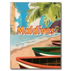 Maldives Vintage travel poster Postcard  #Maldives