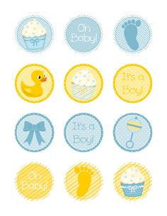 """Free printable baby boy shower cupcake toppers 2"""" circles"""