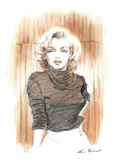 Conte Pencil Drawing - Marilyn Monroe in Sepia  | This image first pinned to Marilyn Monroe Art board, here: http://pinterest.com/fairbanksgrafix/marilyn-monroe-art/ || #Art #MarilynMonroe
