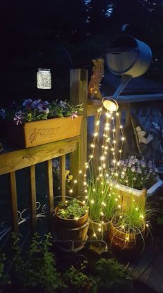 Glowing Watering Can with Fairy Lights seen on Smart School House