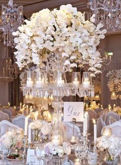New Ideas Wedding Table Centerpieces Candelabra Sophisticated Bride White Orchid Centerpiece, Orchid Centerpieces, Centerpiece Flowers, Centerpiece Ideas, Candelabra Centerpiece, Crystal Wedding Centerpieces, Floral Centrepieces, Elegant Centerpieces, Table Flowers