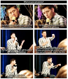 Jensen Ackles on bad driving. The horn of righteousness