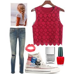 Red passion by jirinkaskalkova on Polyvore featuring polyvore fashion style R13 Converse Topshop Nails Inc. OPI