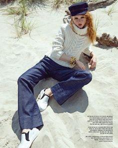 Madison Stubbington Embraces Nautical Style for Vogue Korea October 2016 - Gigi Hadid x Tommy Hilfiger cable knit sweater and flared denim