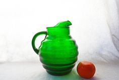 Hey, I found this really awesome Etsy listing at https://www.etsy.com/au/listing/223621001/vintage-green-ball-pitcher-forest-green