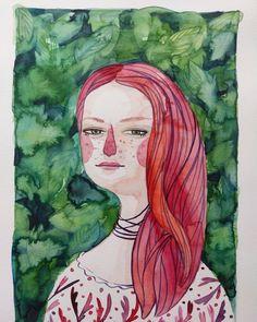 My all time fav redhead and super friend @irinasatala 😘 . . . . . . #lowcostunicorns #watercolor #watercolorillustration #portraitillustration #redhead #green #magic #artofinstagram #artistsoninstagram #illustratorsofinstagram #romanianillustrator