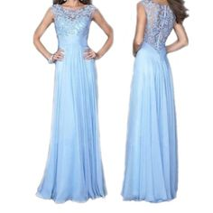 """✨HP Prom Dress✨ Not Sherri Hill, just for exposure. Never been worn, beautiful light blue prom dress. Super simple and elegant. Lace top. Size small, please see size chart. ✨""""Best in Prom Dresses"""" Host Pick, April 5, 2016.✨ Sherri Hill Dresses Prom"""